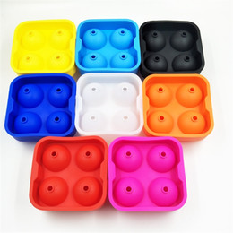 Wholesale Ice Ball Mould - Pudding Mould Creative DIY Chocolates Mold Silicone 4 Hole Ice Ball Moulds Bar Party Articles Multi Color 5 5ww C R