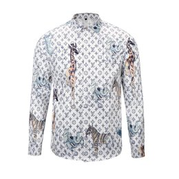 Wholesale Fashion Collar Shirts - newest 2017 fashion Wave Of Men 3D Floral Print Colour Mixture Luxury Casual Harajuku Shirts Long sleeve Men's Medusa Shirts M--2XL