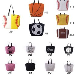 Wholesale Basketball Wholesales - Canvas Bag Baseball Tote Sports Bags Casual Softball Bag Football Soccer Basketball Cotton Canvas Tote Bag KKA1814