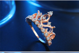 Wholesale Wholesale Bridal Wedding Rings Sets - Diamond Crown Ring Women Rose Gold Ring Crystal finger rings Bridal Wedding Rings Wedding Jewelry Gift