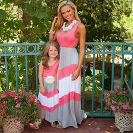 Wholesale Cashmere Outfit - DHL Mother And Daughter Clothes Dress Family Matching Outfits Dresses Summer Baby Girls 2017 Kids Clothing Stripe Sleeveless Casual Clothes