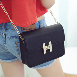 Wholesale Summer Peach Bag - 2017 summer new bag lady Satchel Bag chain small packages of simple Mini Bag Handbag Free shipping