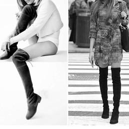 mujeres de tacón alto botas opiniones - Venta al por mayor-Mujer sobre la rodilla botas Suede muslo alta botas 2016 otoño invierno damas moda piel caliente Chunky tacón botas mujer zapatos mujer