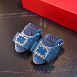 Wholesale High Women Shose - High Quality Solid Foldable Ballet Shoes Matte Blue Leather Women Flats Shose Women Embellished Preppy Style Teenage Girls