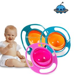 Wholesale Baby Spill Rotating Bowl - 3 colors High Quality Children Universal Gyro Bowl 360 Rotate Spill-Proof Bowl Dishes Baby UFO Top bowl C2316