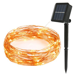Wholesale Purple Led Halloween Lights - 10m 100 LED Solar Lamps Copper Wire Fairy String Patio Lights 33ft Waterproof Outdoor Garden Christmas Wedding Party Decoration