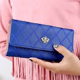 Wholesale Rhombus Purse - Wholesale- Women's Fashion Crown Rhombus Pattern Faux Leather Clutch Wallet Long Purse