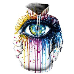 Wholesale Paintings Big Eyes - Colorful Long Sleeve Big Eyes Pattern Pocket 3D Painted Hoodie