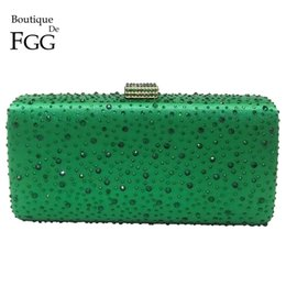 Wholesale Evening Clutch Crystals - Wholesale-Turquoise Green Diamond Women Metal Box Crystal Clutch Evening Bags Hard Ladies Wedding Party Cocktail Shoulder Handbag Purse