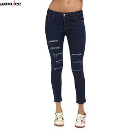 Wholesale Hole Tear Sexy - Wholesale- 2017 Vintage Low Waist Skinny Denim woman torn Jeans punk Slim Pencil Hole Ripped jeans Female Sexy Girl Trousers for women