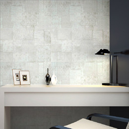Wholesale Block Country - Distressed Industrial Retro Rustic Cement Blocks Concrete Paper wallpaper Brick Stone Embosse Texture Wall Wall Paper green-grey