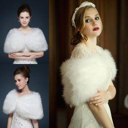 Wholesale Half Sleeve Fur Jackets - Top Quality Faux Fur Bridal Wraps Jackets Fashion Bridal Wedding Shrug Bolero White Winter Short Bridal Accessories Free Size