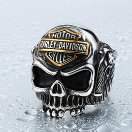 "Wholesale Stainless Steel Ring Unisex - European style jewelry men ""locomotive alphabet Skull Ring Harley ring"