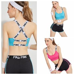 Wholesale Summer Outfits Sport Set - PINK Tracksuit Women Summer Sport Wear Cotton Yoga Suit Fitness Bra Shorts Gym Top Vest Pants Running Underwear Set Runner Outfits KKA2727