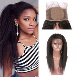 "Wholesale 4x4 Lace Frontal - Kinky Straight Silk Base 360 Lace Frontal Closure 22.5x4x2"" Peruvian Virgin Hair 4x4 Silk Top 360 Frontal with Baby Hair FDSHINE"