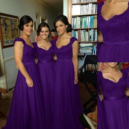 Wholesale Lace Tulle Girl Dress China - Bridesmaid Dresses Purple 2017 Top Lace And Skirt Tulle Country Style Fashion For Greek Girls Long Maid Of Honor Gowns Made In China