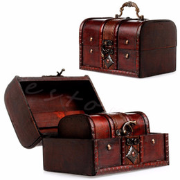 Wholesale Chest Box Storage - Wholesale- 2Pcs New Wooden Pirate Jewellery Storage Box Case Holder Vintage Treasure Chest