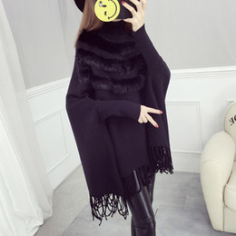 Wholesale Ladies Fur Ponchos - New Fashion Autumn And Winter Women High Collar Real Rabbit Fur Cloak Pullover Lady Bat Sleeves Tassel Poncho Sweater