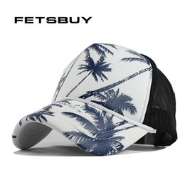 Wholesale Trees Snapback - Wholesale- FETSBUY Coconut trees summer baseball cap women snapback caps girl net cap casquette letter cap bone hats for men women apparel