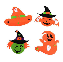Wholesale Orange Halloween Hair - Halloween Children Pumpkin Headband Masquerade Witches Head Ring specter Witch Hat Hair Bands
