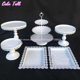Wholesale White Bakeware - Wholesale- White wedding cake accessory stand set 6 pieces cupcake stand decorating cooking cake tools bakeware set party dinnerware