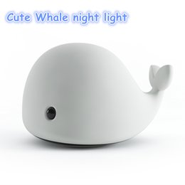 Wholesale Room Mood Lighting - Cute Whale Cetacean Night Lamp USB Rechargeable Mood Light Desk Night Lights Baby Room Whale Cartoon Night Light Kids Bed Table Lamp