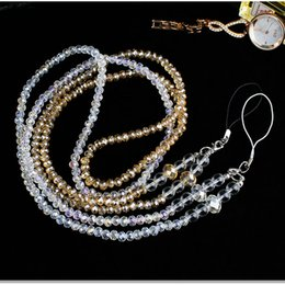 Wholesale Crystal Mobile Phone Charm - Luxury Glitter Cell Phone Lanyard Straps Fashion Jewelry Crystal Cell Phone Charms Colorful Long Neck ID Cards Mobile Phone Bag Rope Chain