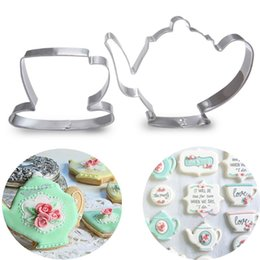 Wholesale Teapot Cup Sets - Set of 2 Teapot Tea Cup Set Cookie Cutter Stainless Steel Mouds Metal Fondant Cake Mould
