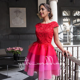 Wholesale mini dress see through beaded - Red Lace Homecoming Dresses Cap Sleeves Layered Tulle See Through Short Prom Dresses Colorful Puffy Cocktail Party Dresses