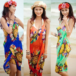 Wholesale Sarong Bathing Suits - 2017 women summer swimwear saida de praia swimsuit bikini dress beach cover up bathing suit cover ups Sarong Pareo