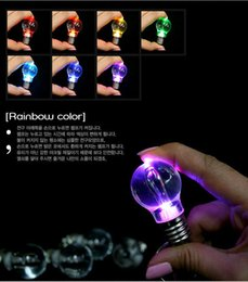 Wholesale Jade Crystal Lamps - Novelty LED Light Bulb Shaped Ring Keychain Flashlight Colorful Key Ring Keychain Lamp Rainbow Color Romantic Lover Key chain K10-1