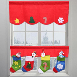 Wholesale Decorative Curtain For Doors - 2pcs set Christmas Socks Window Decoration Door Window Drape Panel Christmas Curtain Decorative For Home New Year