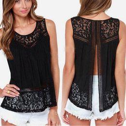 Wholesale Lace Crochet Tank - 2017 Summer Women Chiffon Shirts Crochet Lace vest Blouse Shirt Sexy Open Back Sleeveless Tank Tops Black White
