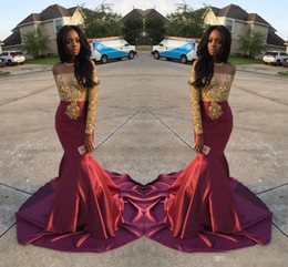 Wholesale Vintage Style Art - Charming African Style Off Shoulder Prom Dresses 2017 Gold And Burgundy Evening Gowns For Black Girls Long Sleeve Sweep Train Formal Dresses