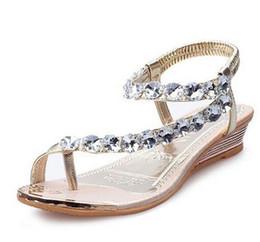 Wholesale Flat Sandals Bling - Women Summer Sandals Bling Beading Plaftorm Wedges Shoes Woman Golden Slid Slip-on Roman Flip Flops Size 35-39 XWZ095
