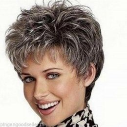 Wholesale Sexy Gray Wigs - free shipping >Sexy ladies wig gray root Short curly Women Female Lady Hair wigs