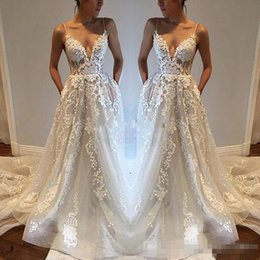 Wholesale White Lace Modest Wedding Dresses - 2017 Pallas Haute Lace Applique Sexy Country Wedding Dresses Modest Spaghetti Backless Elegant Beach Boho Vintage Bridal Gowns Cheap