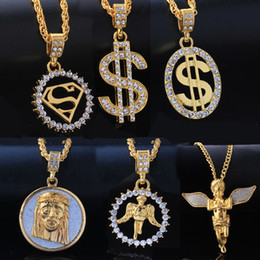 Wholesale Gold Cross Jewelry For Men - Mixed Wholesale Punk Bling Iced Out Angel Jesus Superman S Dollar Crystal 18K Gold Cross Necklace&Pendants Hip Hop Jewelry for Men Women