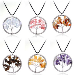 Wholesale Gravel Mix - Hot sale Exaggerated natural crystal pendant life tree necklace necklace gravel pendant WFN074 (with chain) mix order 20 pieces a lot