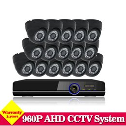 Wholesale Kit Camera 3g - Home Video surveillance System AHD CCTV DVR System 16CH 960p 2500TVL indoor IR Cameras DVR Kit System HDMI 1080P NVR 3g wifi