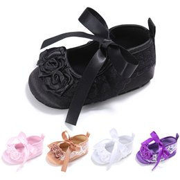 Wholesale Baby Baptism Shoes Lace - Wholesale- ROMIRUS Baby Girls Shoes Princess Newborn Infant First Walkers Mary Jane Satin Christening Baptism Bordered Ballet Shoe