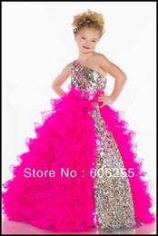 Wholesale Crystal Sequin Communion Dresses - Ruffle One Shoulder Sequin Crystal Tulle Custom Cute Little Flower Girl Dress Floor Length Flowers Bows Kids Prom Birthday Dress 70