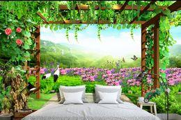 Wholesale Tulip Fabric Flowers - custom 3d nonwoven wallpaper Tulip flower sea luxury wallpaper papel de parede 3d europeu