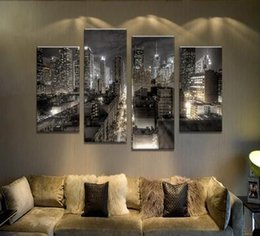 Wholesale Picture Painting Ideas - Fashion Decor 4pcs city night scape Wall painting print on canvas for home decor ideas paints on wall pictures art No framed