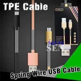 Wholesale Line Usb Connector - Micro USB Cable Type-C 2A Durable Colorful Metal Connector TPE+Spring Sync Data Adapter 1M 3ft Wire Line USB Cables With Retail Box