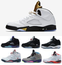 Wholesale Mark Pu Leather - Air retro 5 V Olympic OG metallic Gold Tongue men Basketball Shoes Black Metallic Space jam Fire Red Mark Ballas Sport shoes Sneakers