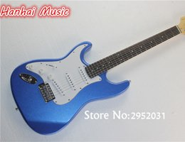 Wholesale Guitar Dark Blue - wholesale Free Shipping-Electric Guitar,Left-hand Style,Dark Blue Color,White Pickguard,Rosewood Fretboard,Chrome Hardware,can be Custom