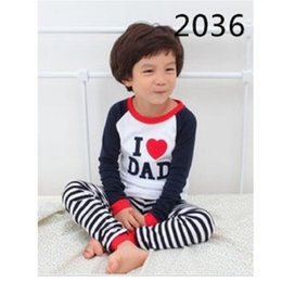 Wholesale Nightdresses Cotton - I Love Dad Children Sleepwear 100% Cotton Wholesale Boys Pajamas 90 95 100 110 120 130 30sets lot Girl Nightdress