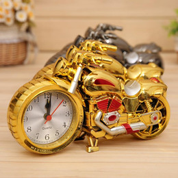 Wholesale Motorcycle Gift Metal - PROMOTION Motorcycle Alarm Clock Shape Creative Retro Gifts Upscale Furnishings Boutique Home Decorator
