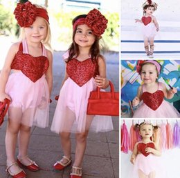 Wholesale Girls Heart Skirt - 2PCS Baby Newborn Girl Rompers Princess Love Heart Romper Dress Kid Infant Party Lace Wedding Big Heart Pageant Tutu Skirt Clothes